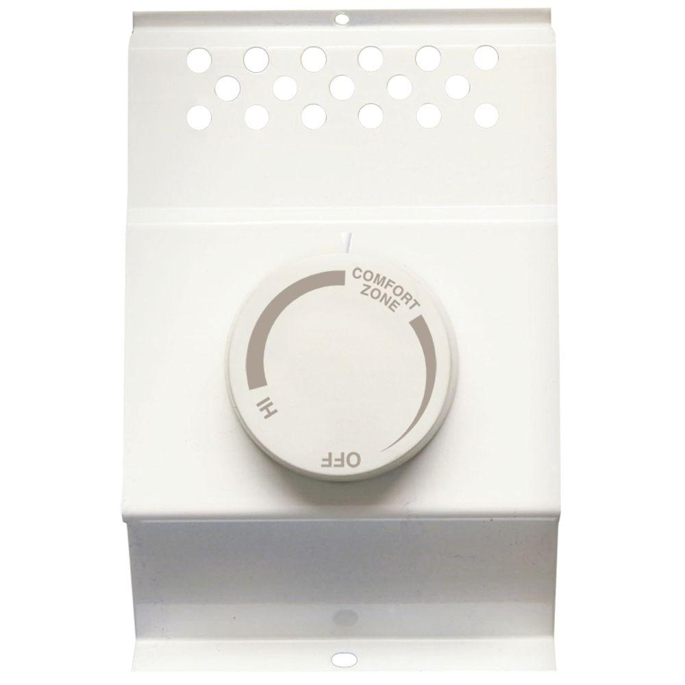 Cadet® 08734 BTF Double Pole Built In Baseboard Thermostat, White, 120/240V
