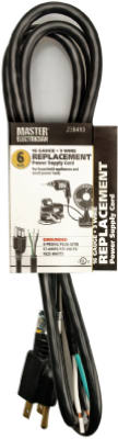 Master Electrician 09706ME Power Supply Replacement Cord, 6', Black