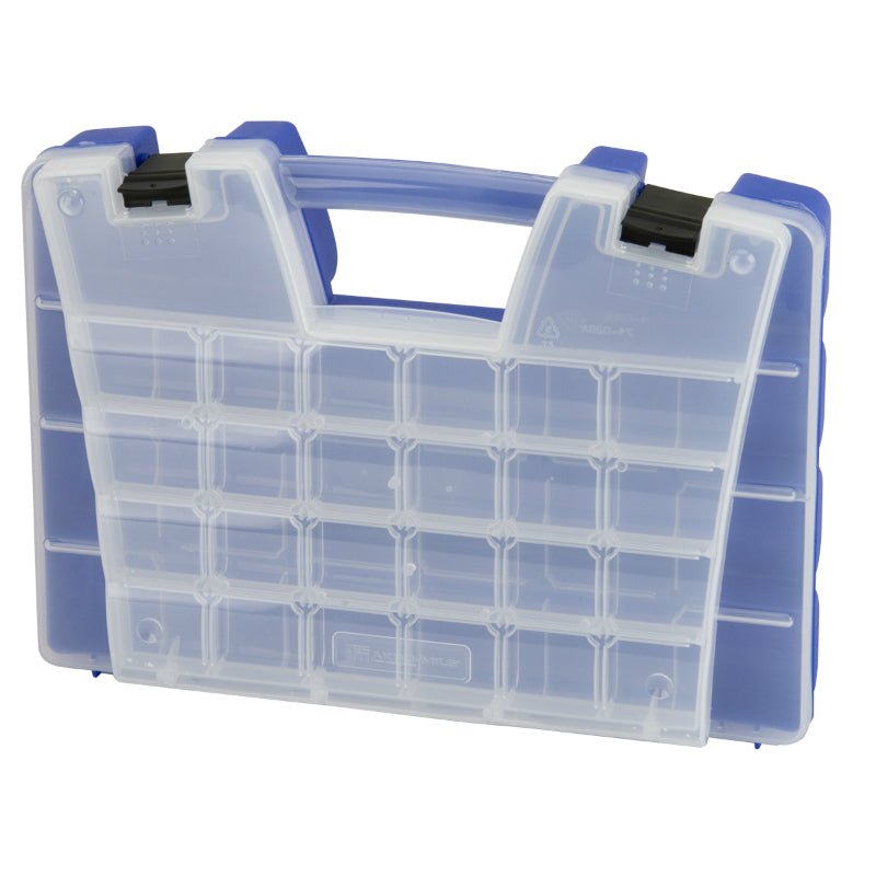 Akro Mils® 06318 Portable Organizer With Lid Storage, Blue, Clear Lens