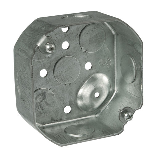 "RACO® 8125 Steel Octagon Box, Drawn with Conduit KO's, 4"" x 1-1/2"" Deep"