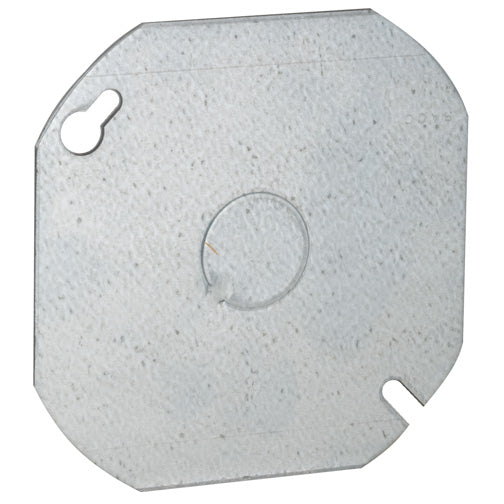"RACO® 724 Steel Octagon Flat Cover, 4"", 1/2"" KO in Center"