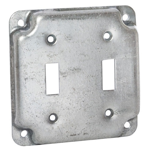 RACO® 803C Square Double Toggle Switch Box Cover, 4""