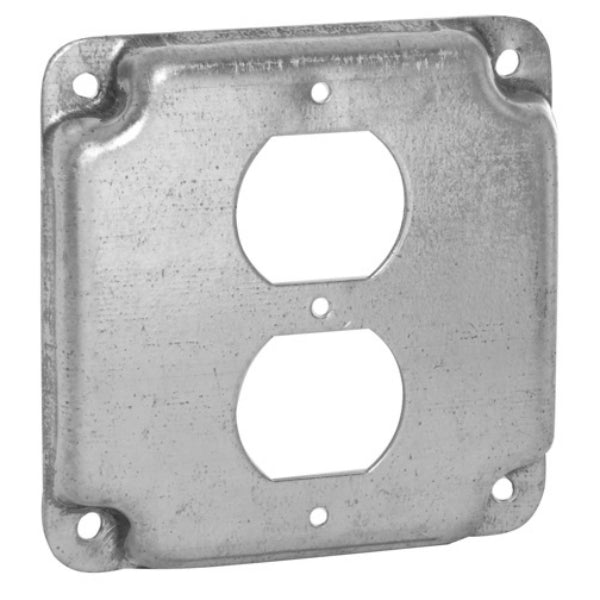 RACO® 902C Flat Corner Exposed Square Duplex Receptacle, 4""