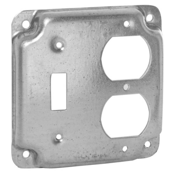 RACO® 906C Flat Corner Exposed Square Single Toggle Receptacle, 4""