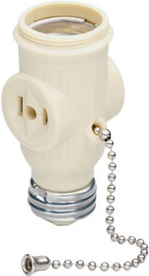 Pass & Seymour Lamp Holder with 2 Outlets, 250W, 125V, Ivory