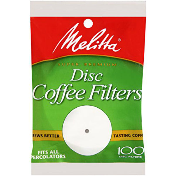 "Melitta® 628354 Disc Coffee Filters, Paper White, 3.5"", 100-Pack"