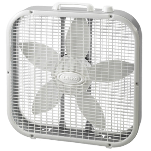 Lasko® 3733 Compact Box Fan, 3-Speed Motor, Gray, 20""