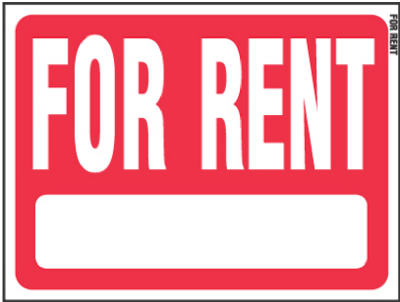"Hy-Ko RS-603 Heavy Gauge Plastic For Rent Sign, 18"" x 24"", Red/White"