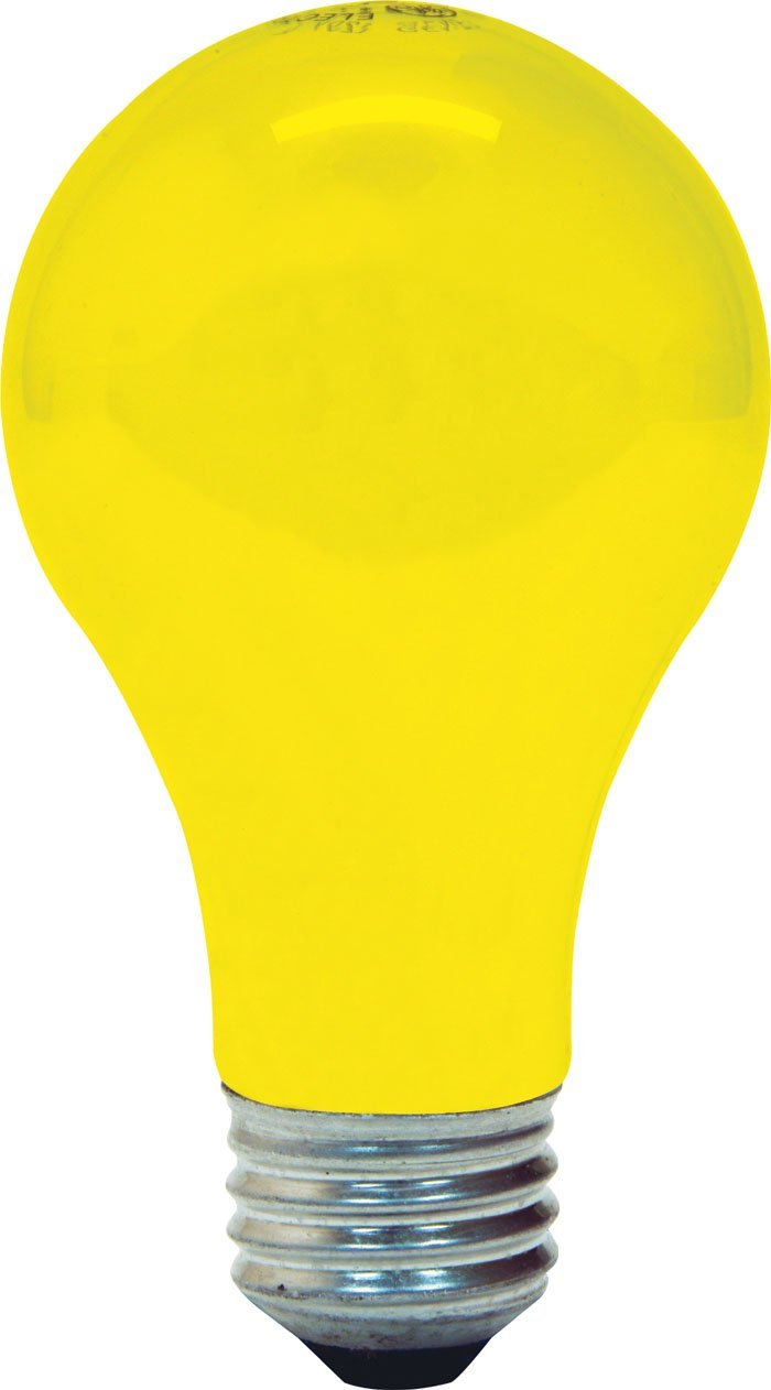 GE Lighting 97495 Medium Base A19 Bug Light Bulb, Yellow, 60W, 2-Pack