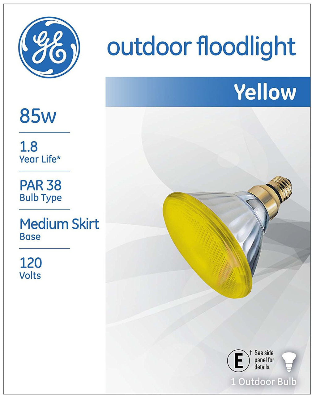 GE Lighting 13473 Incandescent PAR38 Outdoor Yellow Floodlight Bulb, 85W
