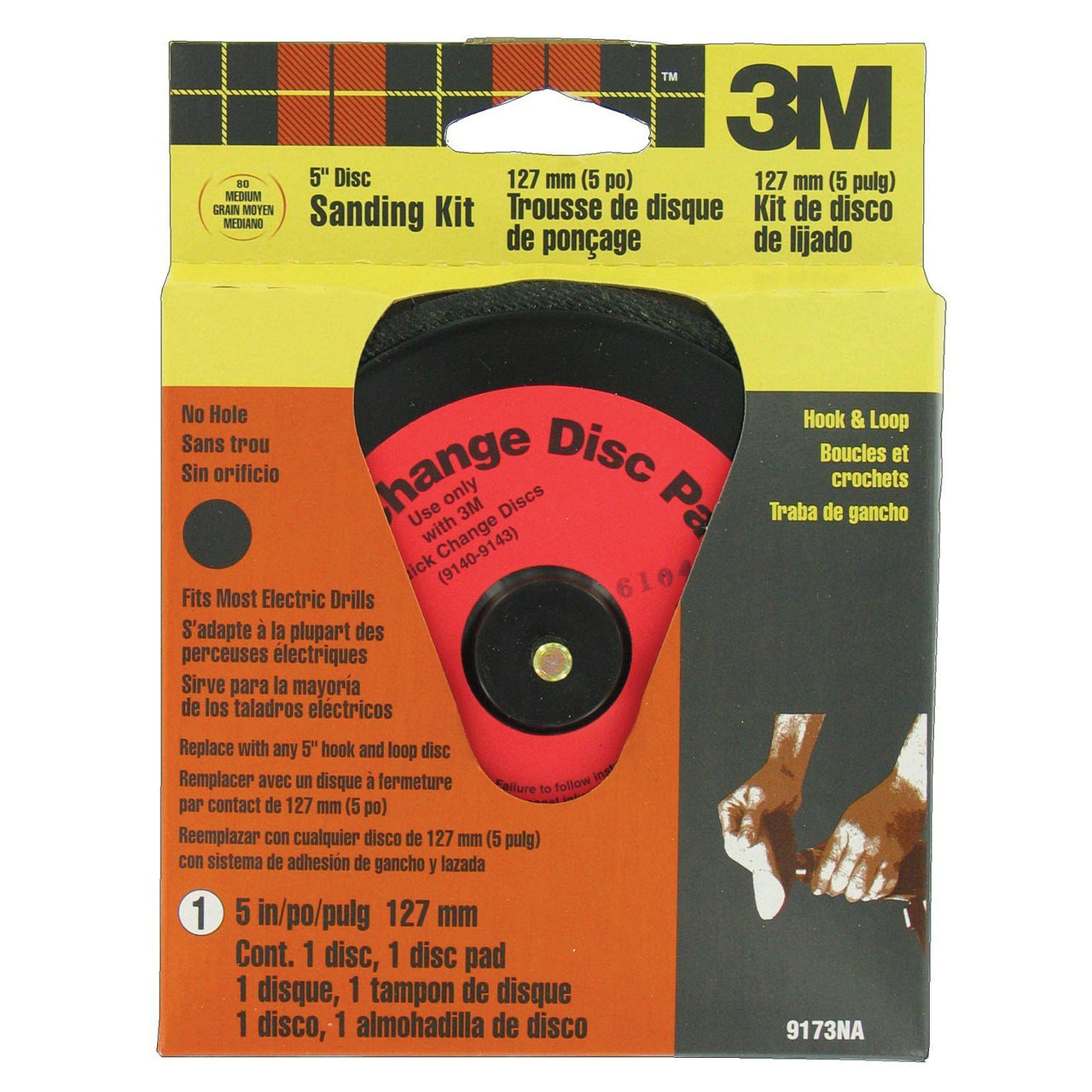 3M 9173 Hookit Reusable Quick Change Disc Sander Kit, 5""