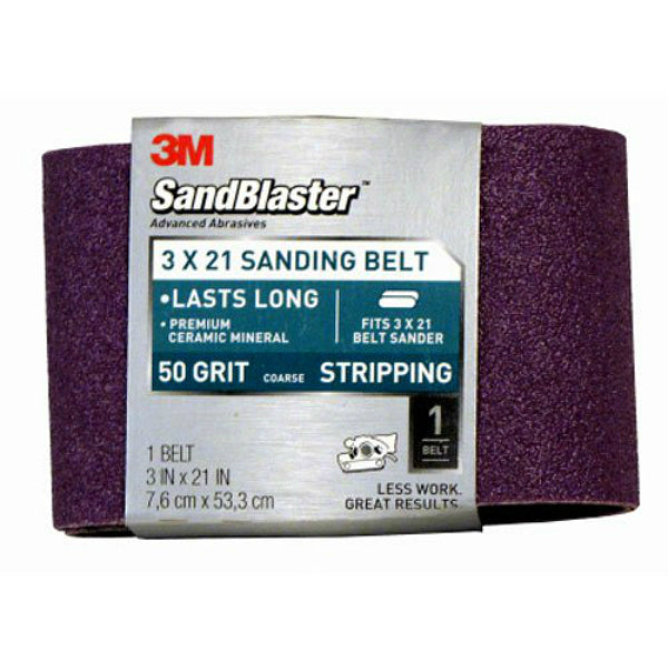 "3M 9193 SandBlaster Fast Cutting Power Sanding Belt, 3"" x 21"", Coarse 50 Grit"