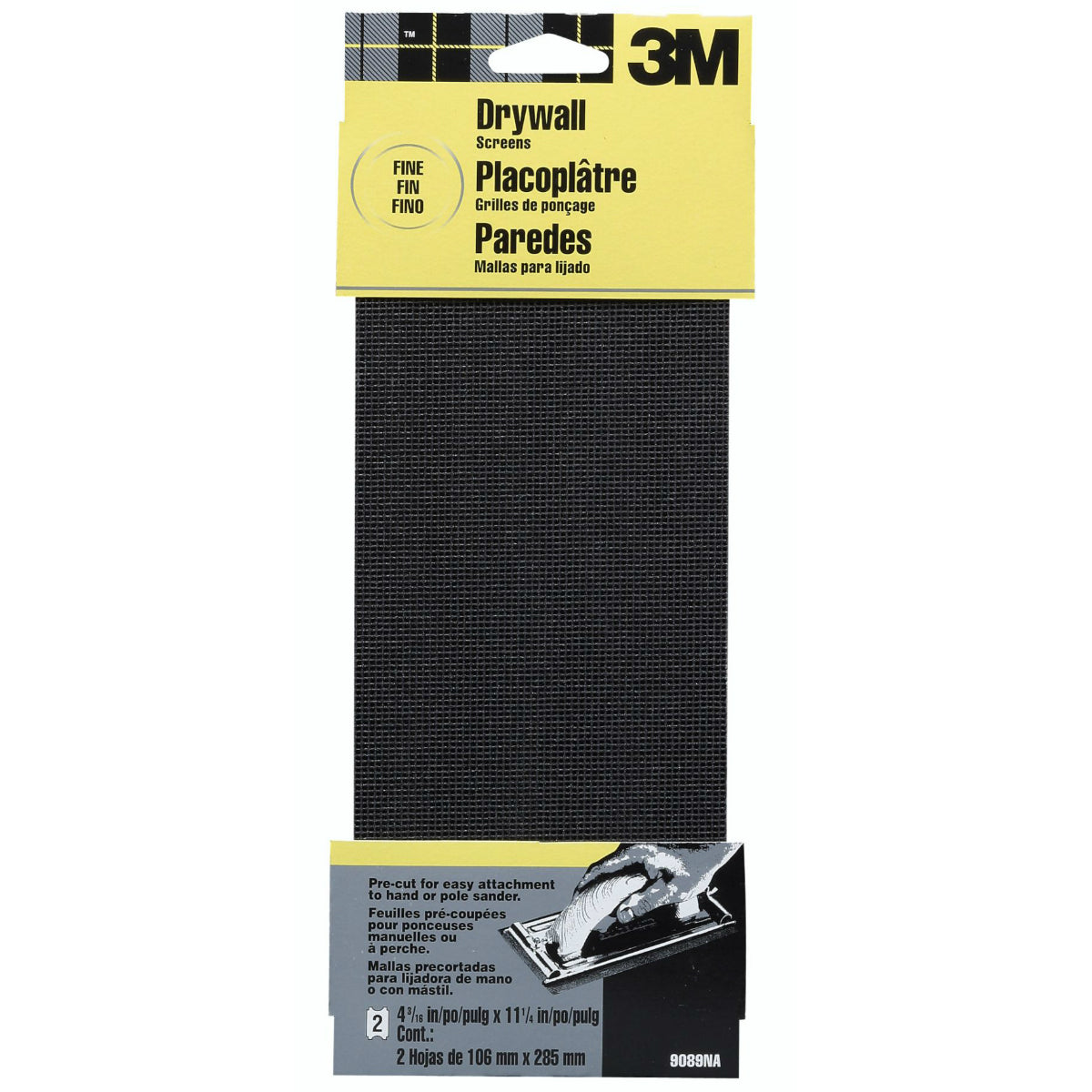 "3M 9089 Sand-Pak Drywall Sanding Screen, 4-3/16"" x 11-1/4"", Fine Grit, 2-Pack"