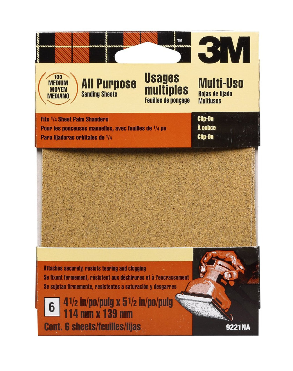 "3M 9221NA Aluminum Oxide Palm Sander Sheet, 4.5"" x 5.5"", Medium 100 Grit, 6-Pack"