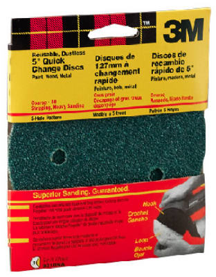 "3M 9310W 5-Hole Dustless Hook & Loop Quick Change Disc, 5"", Coarse 40 Grit, 5-Pack"