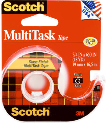 "Scotch 25 MultiTask Crystal Clear Tape Dispensered Rolls, 3/4"" x 650"""