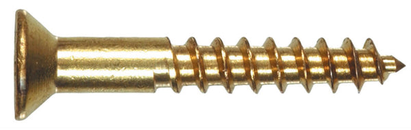 "Hillman 385700 Flat Head Phillips Wood Screw, #8 x 3/4"", Brass, 100 Pack"