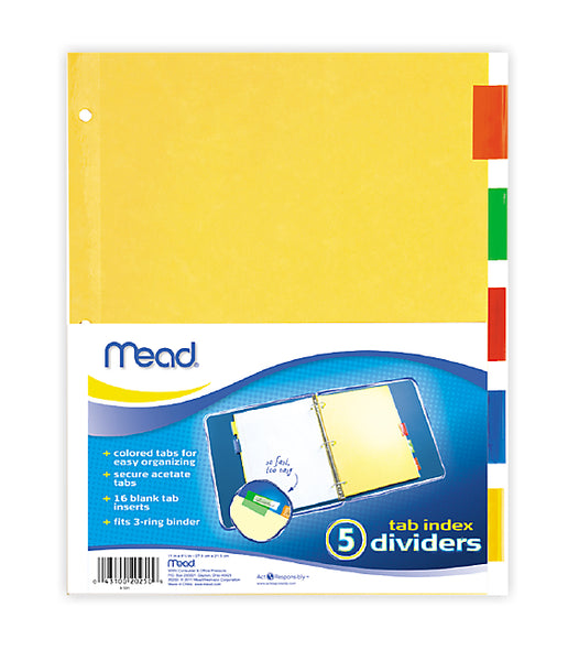 "Mead® 20250 Tab Index Divider, 11"" x 9"""