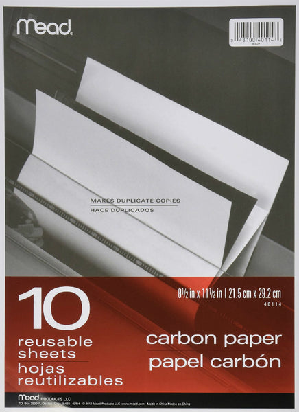 "Mead® 40114 Carbon Paper In Folder, 8.5"" x 11"", 10-Count"