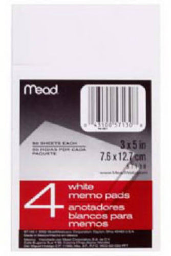 "Mead® 57130 White Memo Pad, 3"" x 5"", 50-Count"