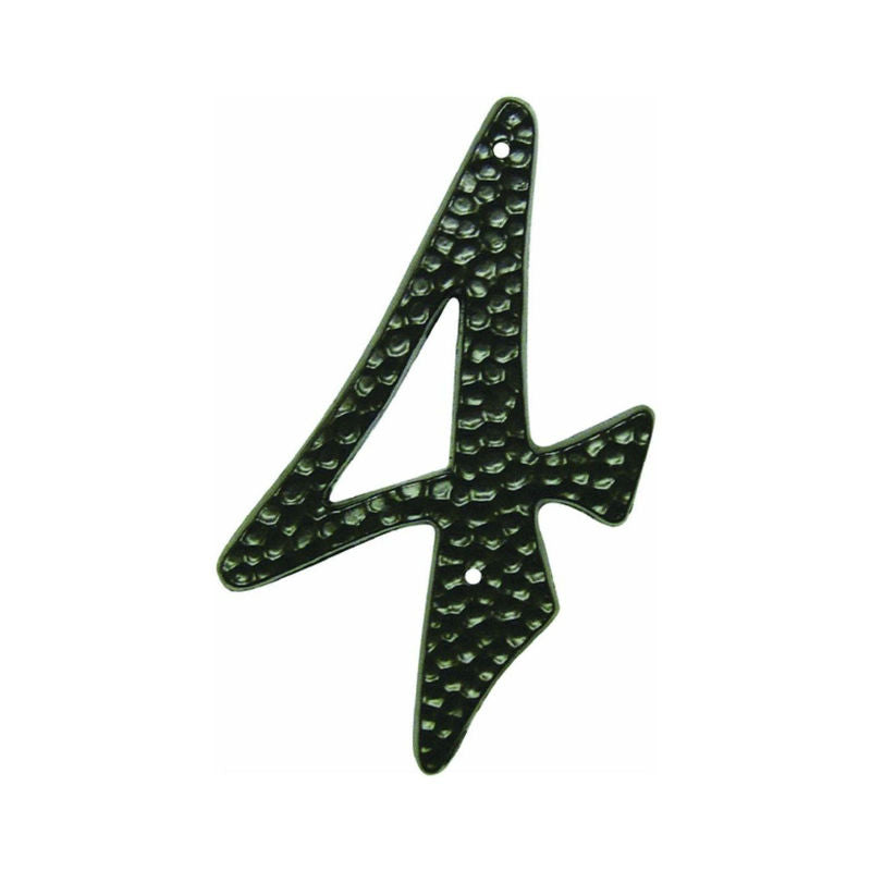 "Hy-Ko DC-3/4 Die-Cast Aluminum Number 4 Sign With Nails, 3-1/2"", Black"
