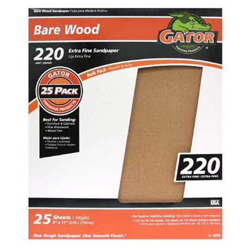 "Gator 4223 Bare Wood Sandpaper Sheet, 220 Grit, 9"" x 11"""