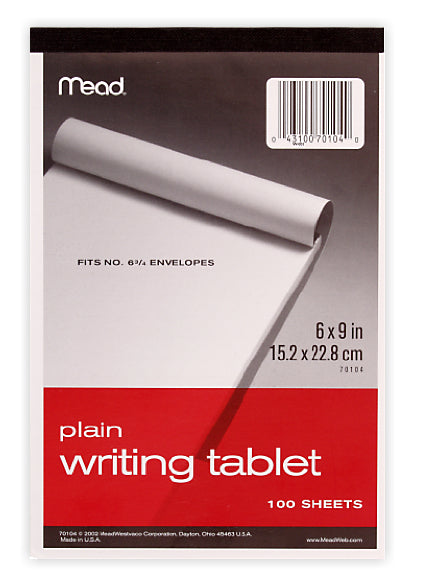 "Mead® 70104 Plain Writing Tablet, 	6"" x 9"", 100 Sheets"