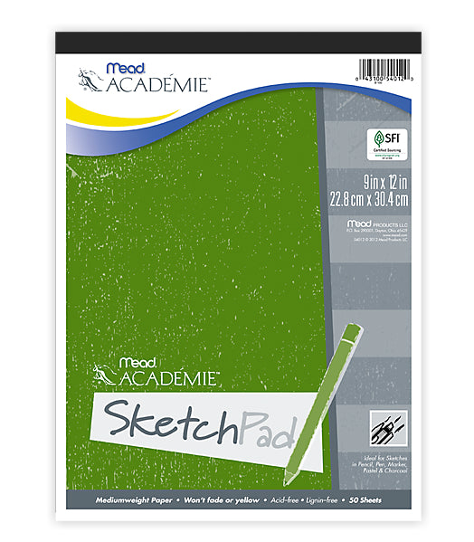 "Mead® 54012 Academie™ Sketch Pad, 12"" x 9"", 50-Count"