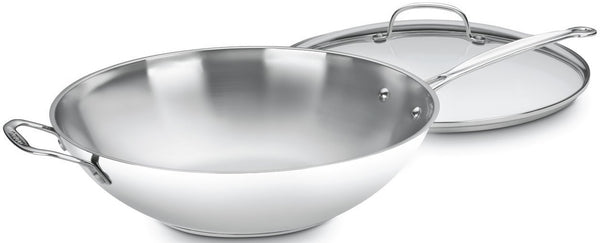 Cuisinart 726-38H Chef's Classic Stainless Stir-Fry Pan with Glass Cover, 14""