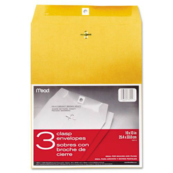 "Mead® 76014 Clasp Envelopes, 10"" x 13"", 3-Pack"