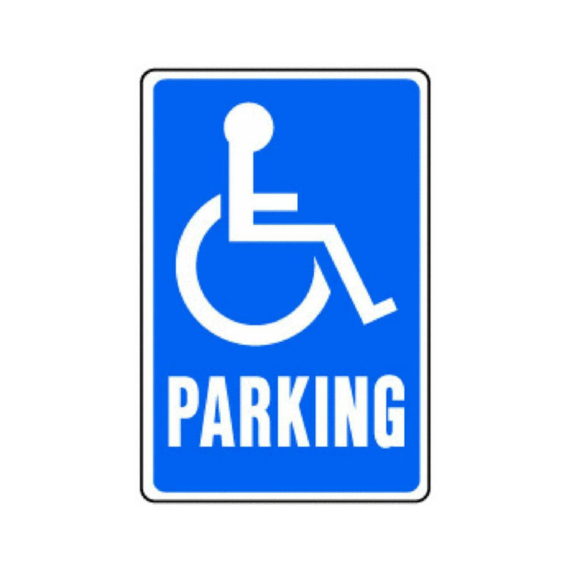 "Hy-Ko HW-13 Heavy-Duty Aluminum Handicapped Parking Sign, Blue/White, 12""x18"""