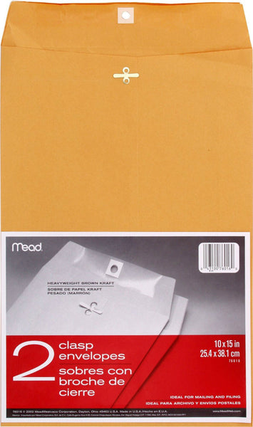 "Mead® 76016 Kraft Clasp Envelopes, 10"" x 15"", 2-Pack"