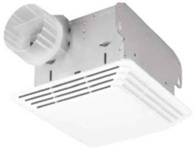 Broan 678 Combaination Bathroom Fan & Light, 50 CFM, White Plastic Grille