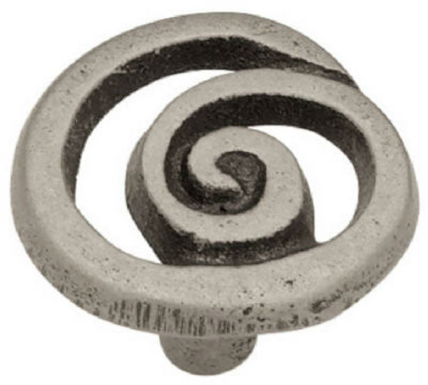"Liberty Hardware 69232 Single Swirl Knob, 1-3/8"", Pewter Finish"