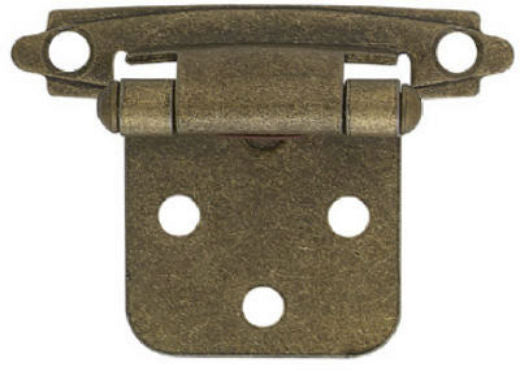 Brainerd® H0103BV-AB-O2 Self-Closing Overlay Hinge, Antique Brass, 2-Pack