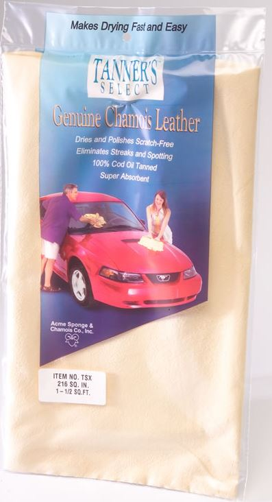 Acme Sponge & Chamois TSX Tanners Select Genuine Chamois Leather, 1-1/2 Sq.Ft.