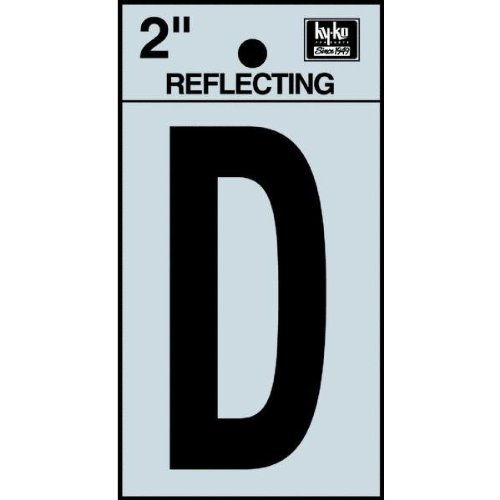 "Hy-Ko RV-25/D Reflective Adhesive Vinyl Letter D Sign, 2"", Black/Silver"