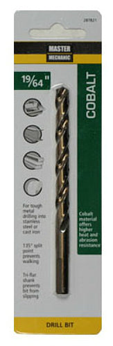 "Master Mechanic 287821 Jobber Length Cobalt Drill Bit, 19/64"" x 4-3/8"", Steel"