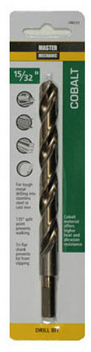 "Master Mechanic 288225 Jobber Length Cobalt Drill Bit, 29/64"" x 5-5/8"", Steel"