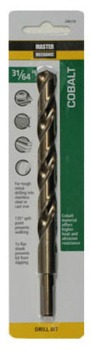 "Master Mechanic 288258 Jobber Length Cobalt Drill Bit, 31/64"" x 5-7/8"", Steel"