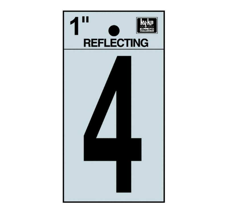 "Hy-Ko RV-15/4 Reflective Adhesive Vinyl Number 4 Sign, 1"", Black/Silver"