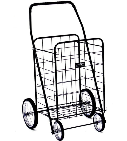 Easy Wheels NTC001BK Jumbo 4-Wheel Folding Shopping Cart, Black, Holds 150 Lb