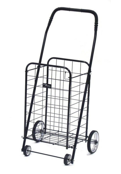 Easy Wheels® NTC003BK Mini 4-Wheel Folding Shopping Cart, Black, Holds 100 Lb
