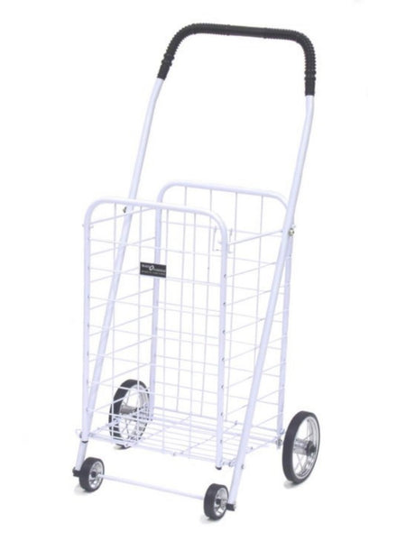 Easy Wheels® NTC003WH Mini 4-Wheel Folding Shopping Cart, White, Holds 100 Lb