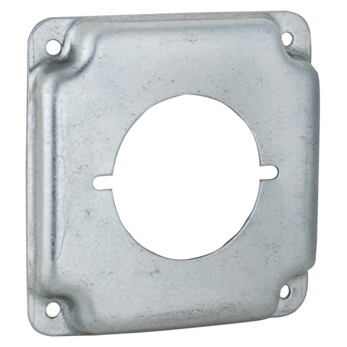 "RACO® 810C Flat Corner Single Round Receptacle Cover, 4"", 2.141"" Dia."