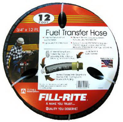 "Fuel Pump Hose With Static Wire 3/4"" x 12'"