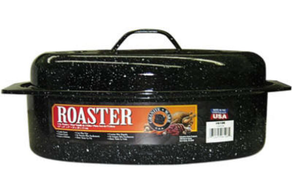 Granite-Ware® 6106-2 Porcelain-On-Steel Covered Oval Roaster, Black, 13""