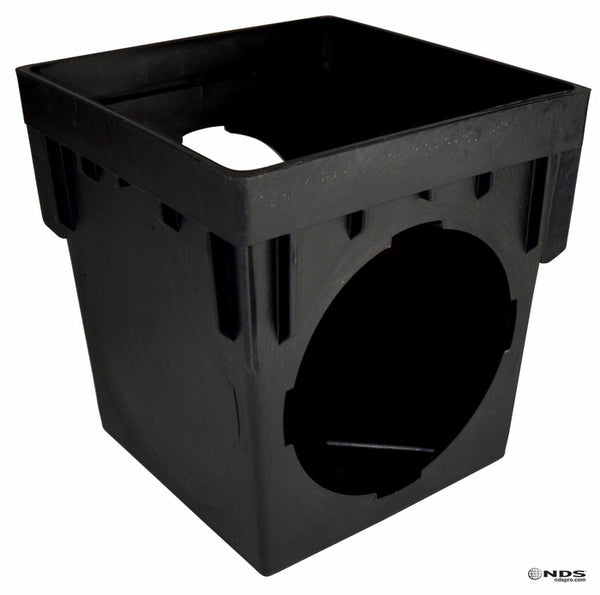 "NDS 900 Double Outlet Catch Basin, 9"" x 9"""