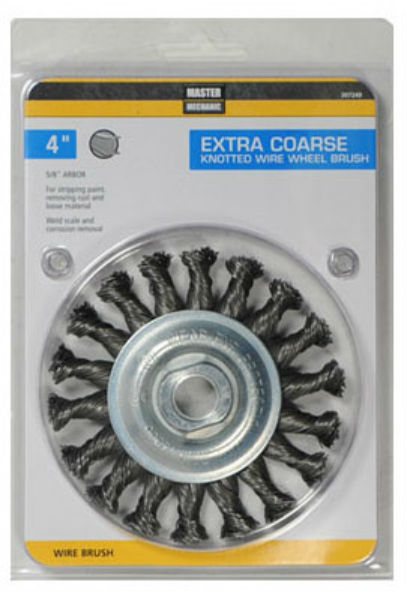 Master Mechanic 307249 Extra Coarse Knotted Wire Wheel Brush, 4""