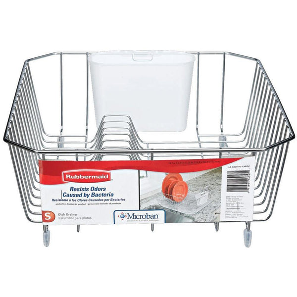 Rubbermaid® 6008-AR-CHROM Microban® Coated Wire Dish Drainer, Small, Chrome